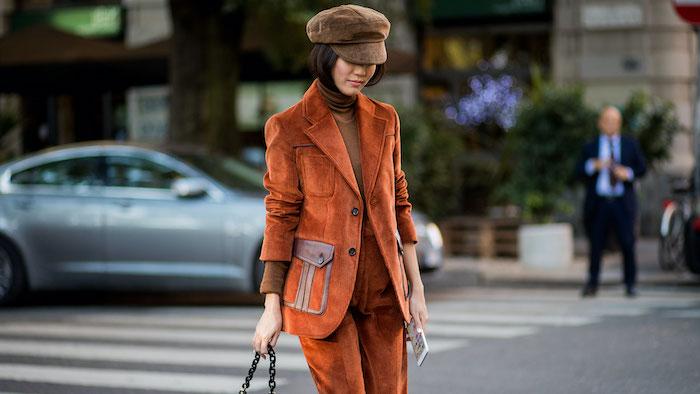 street style woman suit