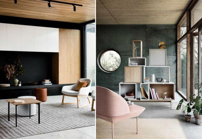 style japandi en déco d intérieur murs gris anthracite et noir mobilier bois et métal inimaliste tapis gris moeleux tons pastel