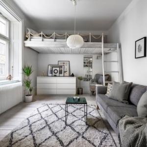 style scandinave tapis blanc et noir motifs géométriques jeté gris anthracite mezzanine suspendue