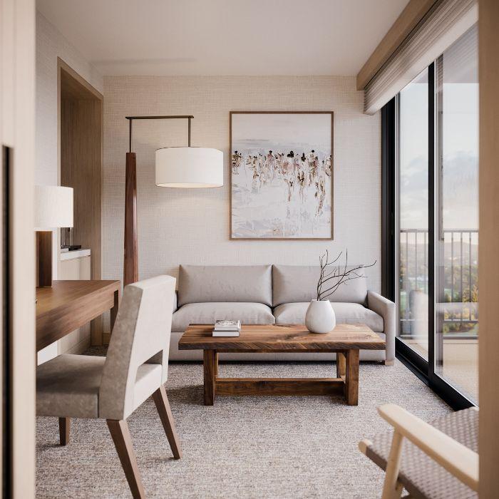 table basse bois canapé gris tapis gris chaises grises tableau d art contemporain style mobilier minimaliste