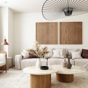 tables basses bois et marbre canapé gris moelleux surchargé de coussins tapis blanc et noir deco fleurs de pampa panneaux muraux perforés