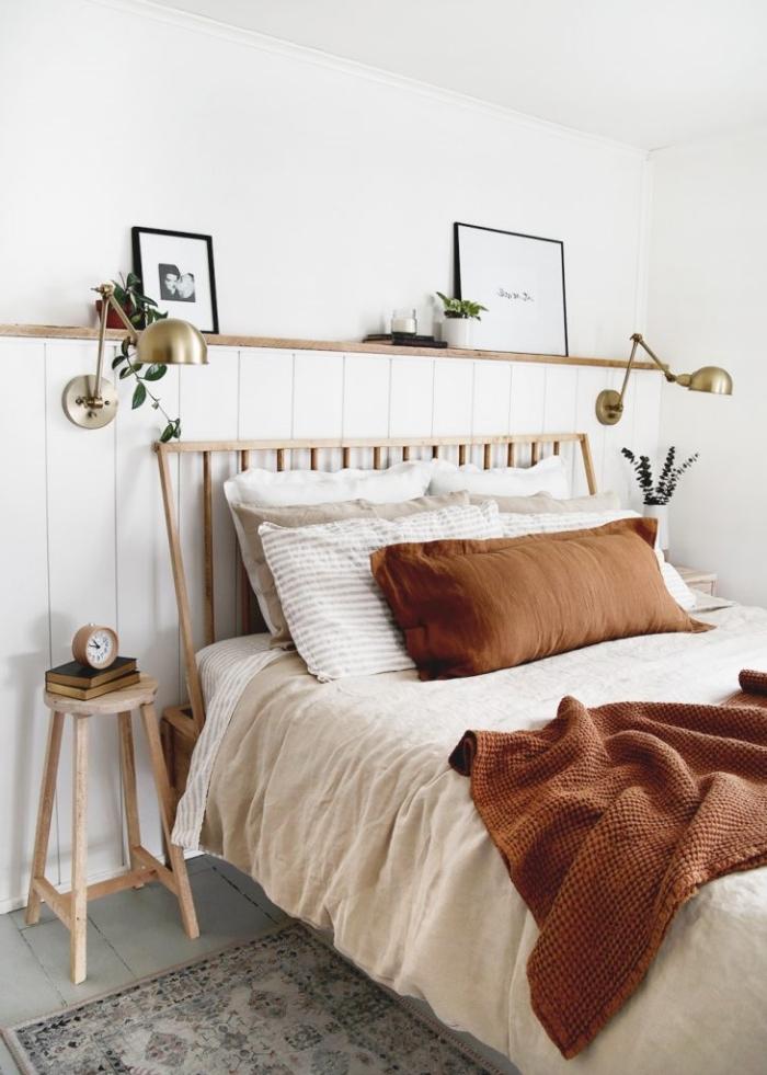 tapis motifs ethniques meuble de chevet bois deco tete de lit diy bois étagère rangement