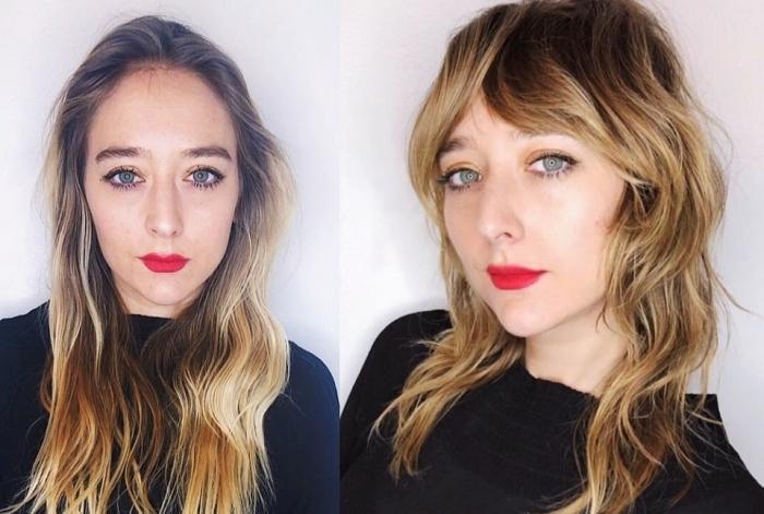 tendance 2021 coupe de cheveux femme 2021 maquillage avec rouge a levre rouge coupe frange