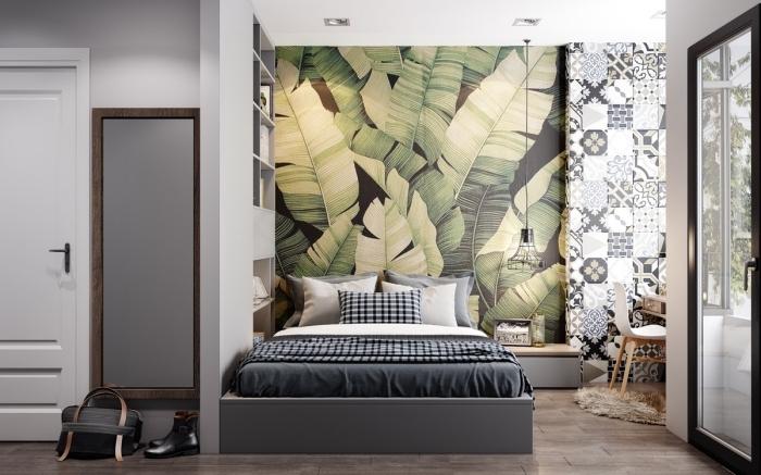 tete de lit originale papier peint imprimés tropicaux cadre de lit gris carrelage imitation bois