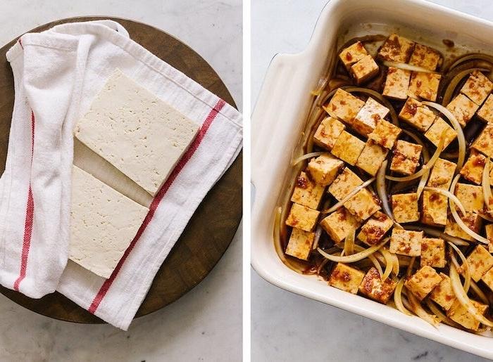 tofu mariné aux oignons dans une casserole idée de repas du soir léger vegan sans viande