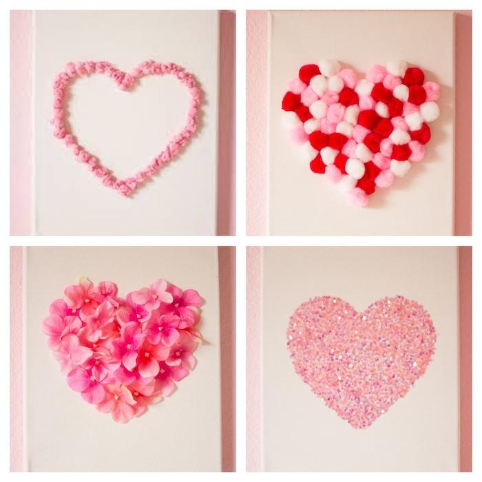 un panneau fait des toiles avec des coeurs assemblées des paillettes et des fleus décoratifs