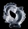 une sculpture en crtistal sous la forme de poissons par rené lalique