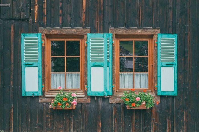 vieux maison en bois fenetres avec fleurs
