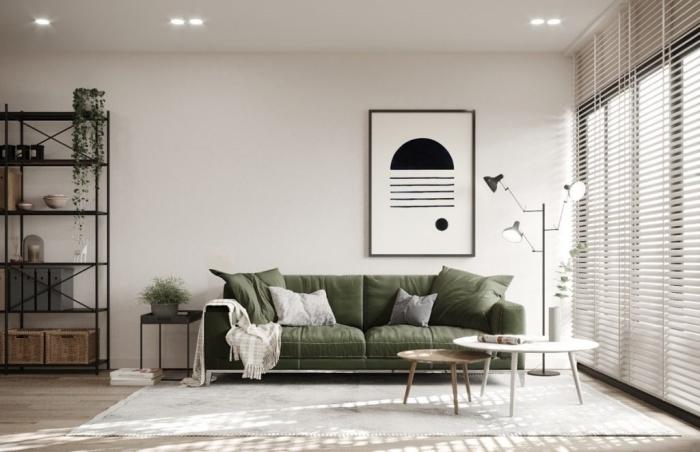 étagère meuble métal noirci paniers rangement tressé couleurs qui vont avec le kaki canapé