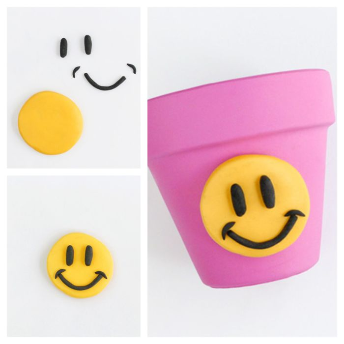 activité manuelle adulte primaire décoration pot de fleur printemps visage souriant pate polymere