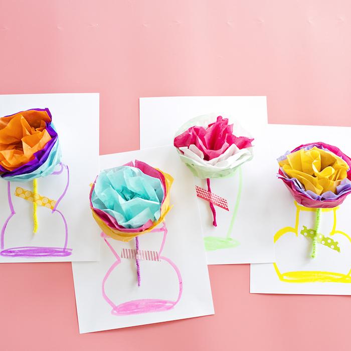 activité manuelle fete des grand mere vase dessiné sur papier et fleur en papier de soie diy coloré