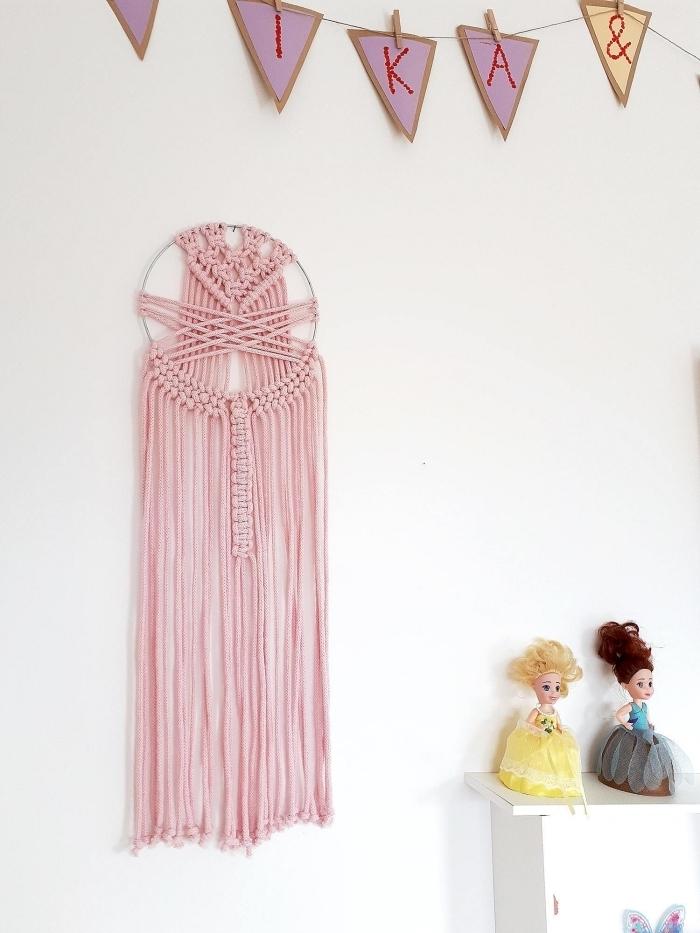 attrape rêve macramé décoration chambre d enfant guirlande diy en papier suspension murale corde rose