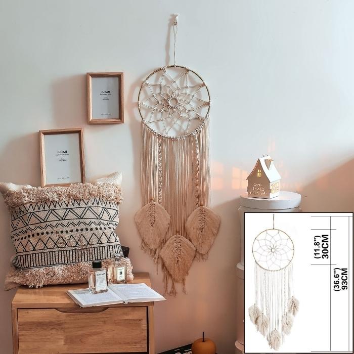 attrape reve diy design intérieur tendance accessoires artisanaux objets fait main suspension macramé ronde