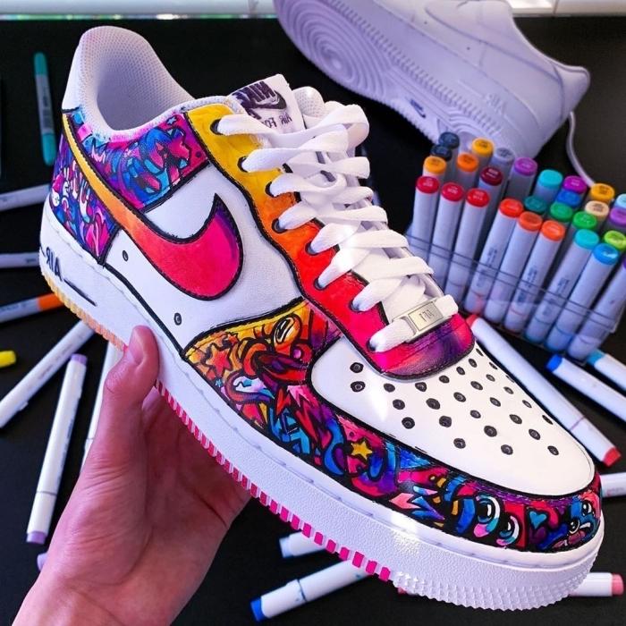 baskets blanches air force 1 personnalisé chaussure sport peinture cuir lacets blancs