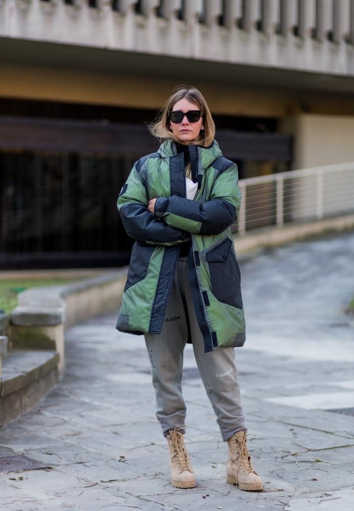 bottines velours beige lacets jogging oversize femme vêtements oversize mode femme accessoires