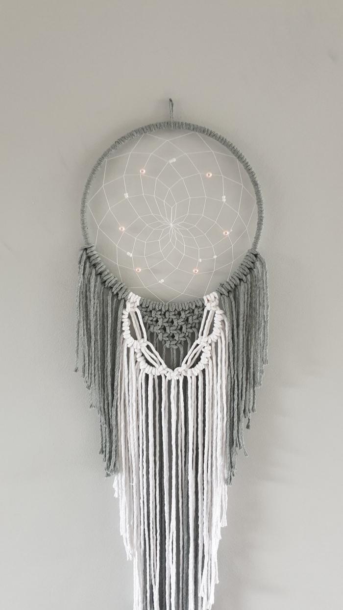 bricolage facile objet déco fait main diy attrape reve crochet avec noeud macramé simple