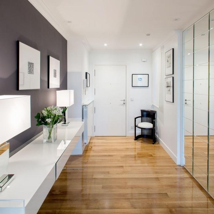 carrelage effet bois peinture foncée noire lampe blanche deco hall d entrée moderne style