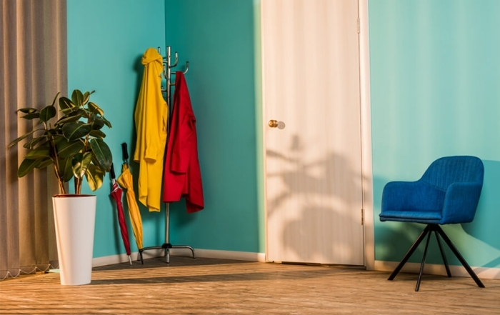 chaise velours bleu pot fleur blanc peinture couloir turquoise porte d entree blanche