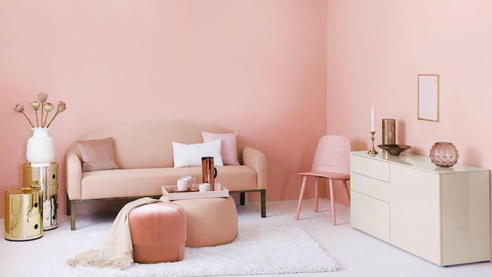 chambre rose saumon mobilier accents blanc set beige et laiton fond d écran trop stylé