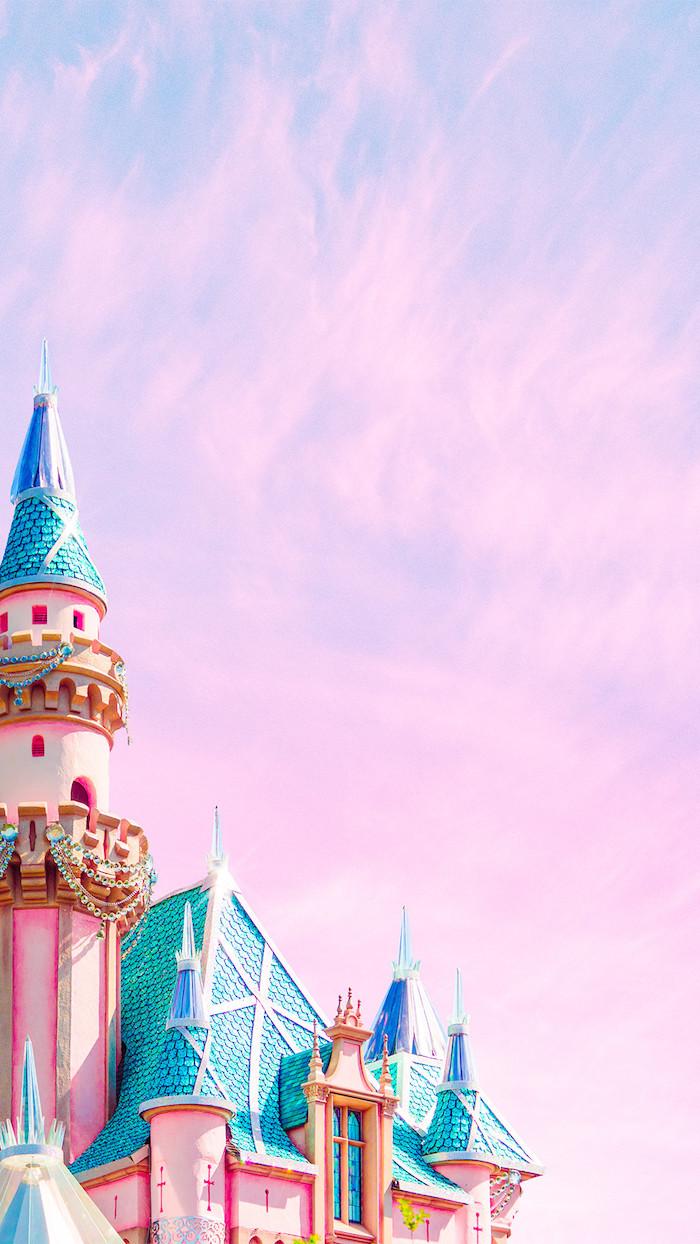 chateaux de couleur pastel rose et bleu et ciel rose les plus beaux fonds d écran stylés conte de fée