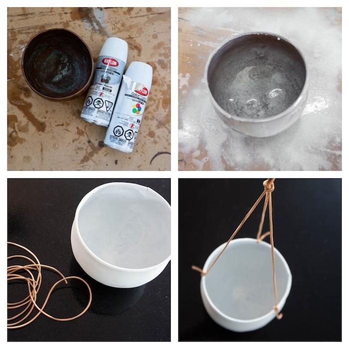 comment créer un pot a fleur à suspendre a l aide d une corde en cuir etape par etape