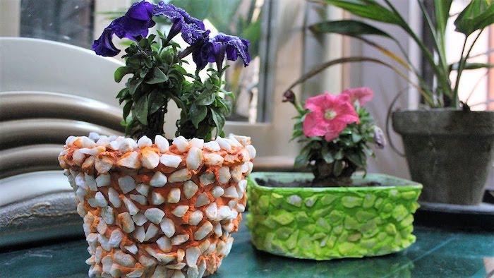comment décorer des pots de felurs a l aide de la painture et des petites pierres deux plantes sur une table en verre