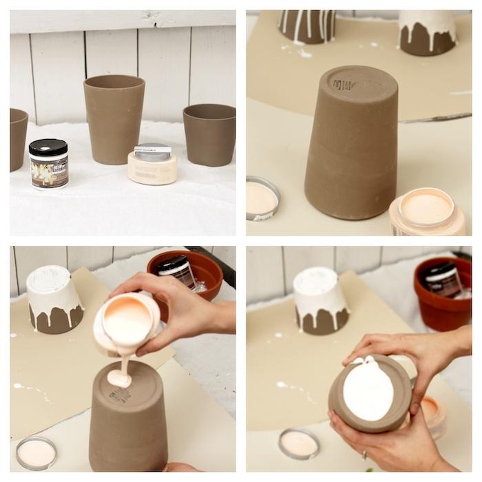 comment décorer un pot en terre cuite grace a une peinture blanche etape par etape