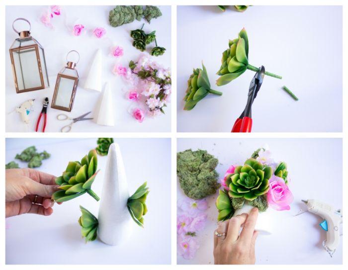 comment faire deco fleurie avec cones mousse florale décorés de fleurs succulents diy printemps