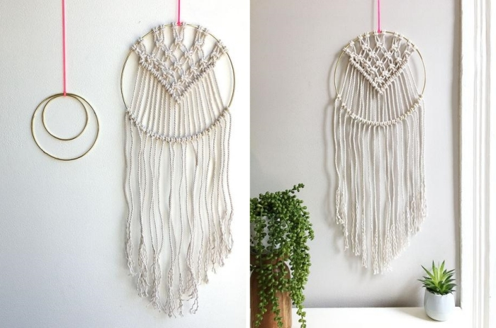 comment faire un attrape rêve macramé cercle métal noeuds plats corde macramé coton