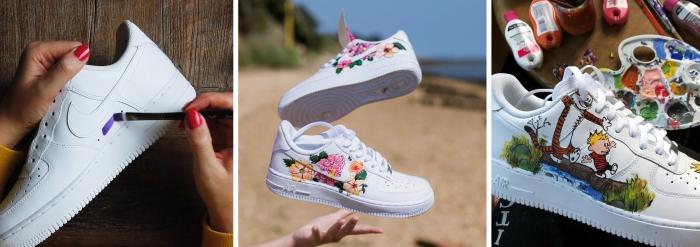 comment personnaliser ses baskets blanches peinture nike air force décoration sneakers peinture cuir