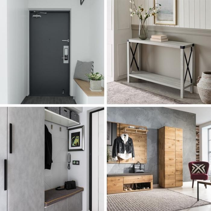 couleur porte d entrée gris anthracite design intérieur style moderne meubles bois clair
