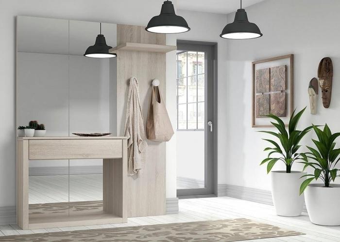 couleur pour une entrée accueillante murs blancs lampe suspendue noir mat miroir meubles bois clair