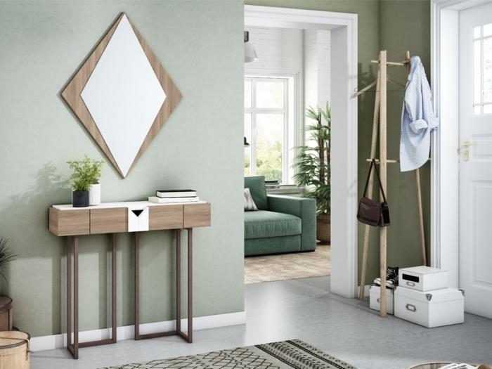 couleur tendance 2021 peinture vert meubles bois et métal tapis gris motifs géométriques miroir bois design