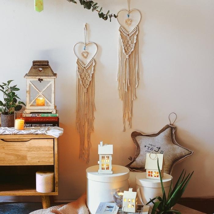 créations tissage cordon coton en forme de coeur lanterne collection livres attrape reve fait main