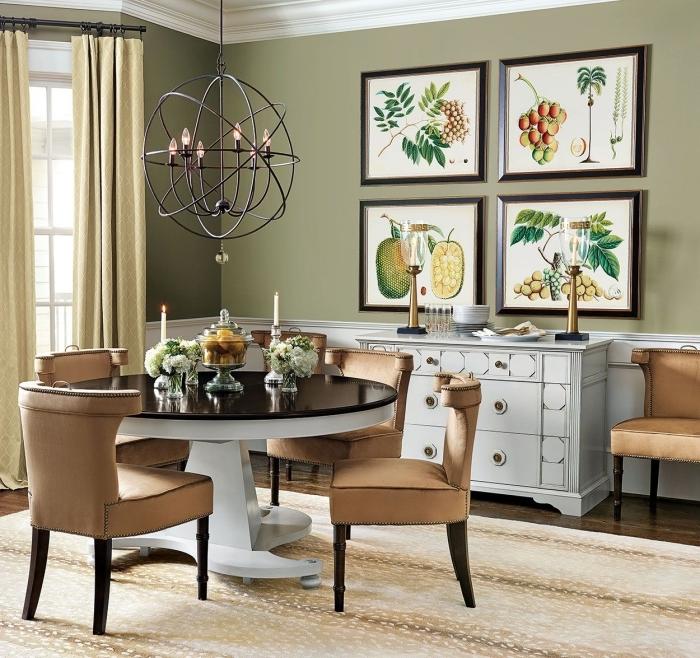 cuisine kaki décoration coin repas salle a manger table ronde blanc et noir chaises marron