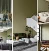 décoration intérieure peinture couleur vert kaki linge de lit gris anthracite photographie blanc et noir