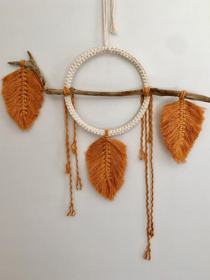 décoration macramé a faire soi même diy plume macramé en cordon coton couleur marron