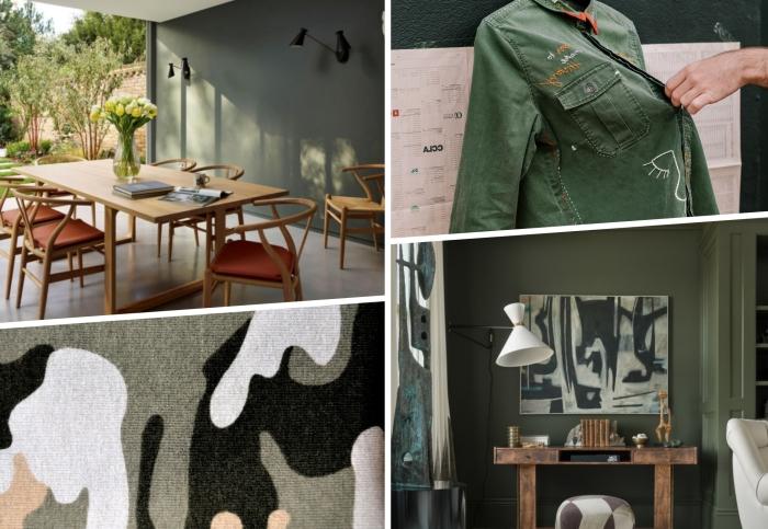 décoration tendance couleurs nuance de verte peinture murale kaki meubles bois salle à manger nature