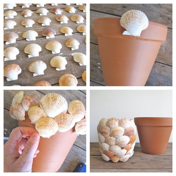 décorer un pot a fleur a l aide des coquillages et les pas a suivre pour resussir