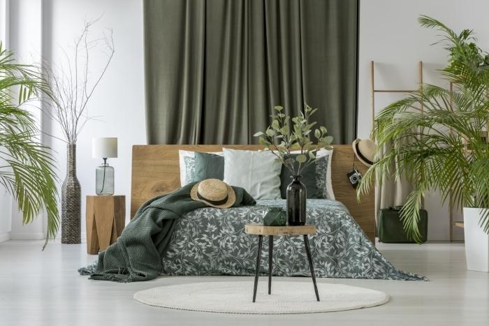design chambre à coucher jungle bohème style moderne meubles bois couleur tendance 2021