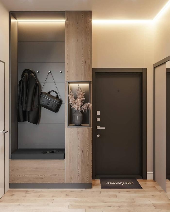 design intérieur style moderne peinture couloir et portes éclairage led porte d entrée gris anthracite