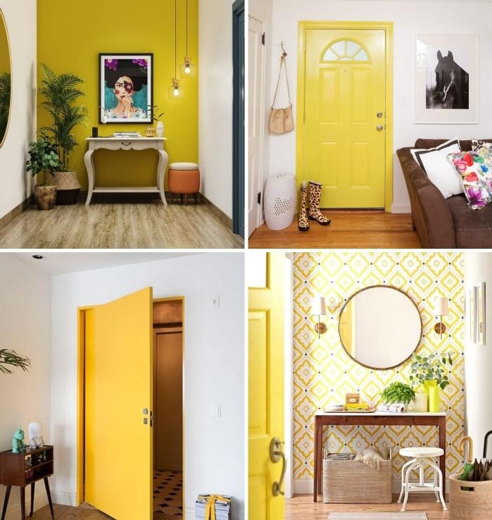 design intérieur tendance peinture murale couleur entrée jaune porte d entrée déco écléctque