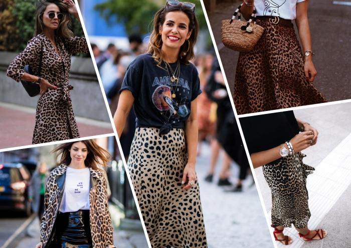 dessin léopard vêtements mode femme robe motifs animaliers lunettes de soleil tendance jupe léopard sandales rouges plates