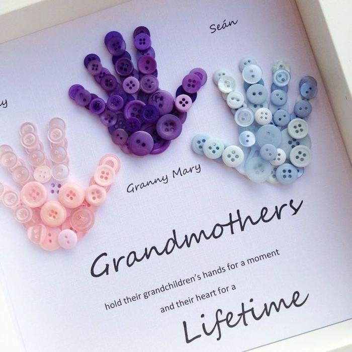empreintes de main en boutons colorés sur bout de papier gabarit imprmé cadeau grand mere personnalisé