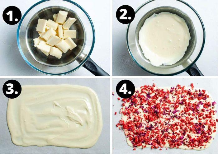 exemple de barre chocolat blanc aux fraises et pétales de fleurs dessert avec des fraises original et simple