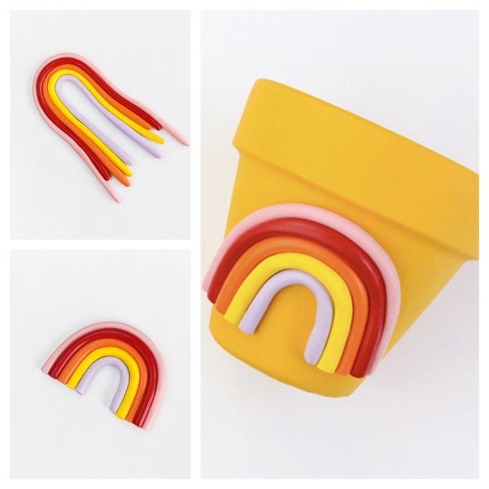 exemple deco pot de fleur de peinture jaune et motif arc en cile en pate fimo diy