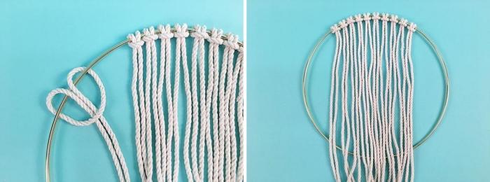 exemple tissage macramé technique noeud base noeud tete d alouette cercle métal