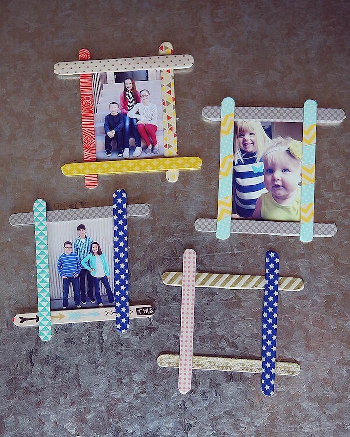 fabriquer des cadres photos diy soi meme avec des bâtonnets de glace décorés de washi tape cadeau fete des meres maternelle