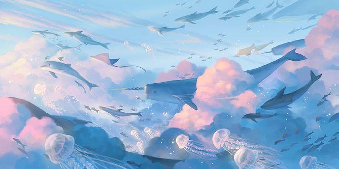 fond bleu pastel avec des touches de rose thème fonds marins mer nuages animaux