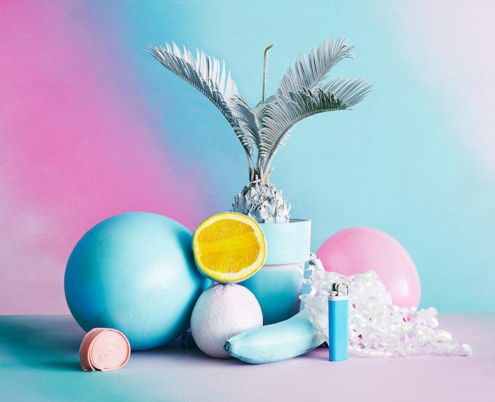 fond d écran dégradé en rose bleu blanc et jaune tonalités pastel image artistique